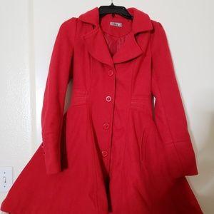 Jackets & Blazers - Red Pea Coat ❤